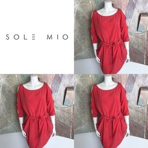 Solemio Coral Cut Out Pocketed Dress Size Medium